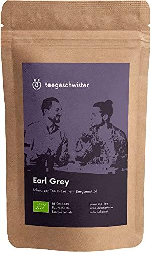 teegeschwister® | BIO Earl Grey Tee lose | Hauseigene Schwarztee-Mischung mit echtem Bergamotte Öl | naturbelassener Bio Tee lose ohne Aromastoffe | 100g