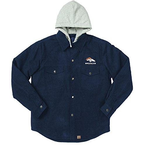 NFL Denver Broncos Dukane Canvas Quilt Lined Jersey Hooded Jacket, Navy, XX-Large