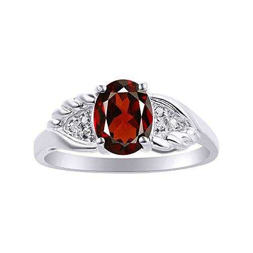 Juego de anillos de diamante y granate en oro blanco de 14 quilates, diseño de alas de diamante