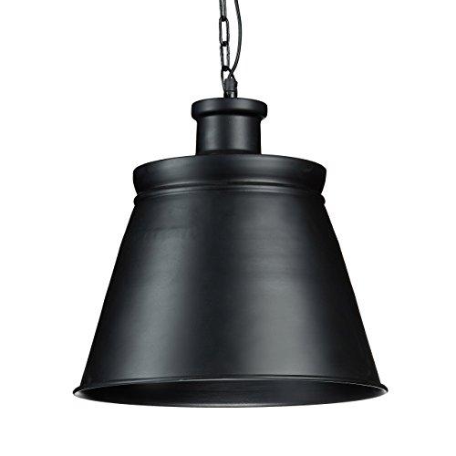 Relaxdays Hängelampe Metall groß mit E27 Fassung bis 40W HBT 150 x 36 x 36 cm Hängeleuchte mit hohem Schirm Pendellampe Industrie aus lackiertem Metall Pendelleuchte im schlichten Design, schwarz