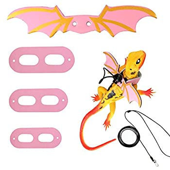 KHLZ US Upgrade Material Pink Color Adjustable Lizard Leash Reptile Harness Bearded Dragon Leash Gecko Leash with Wings Small Animal Leash S M L,3 Pack