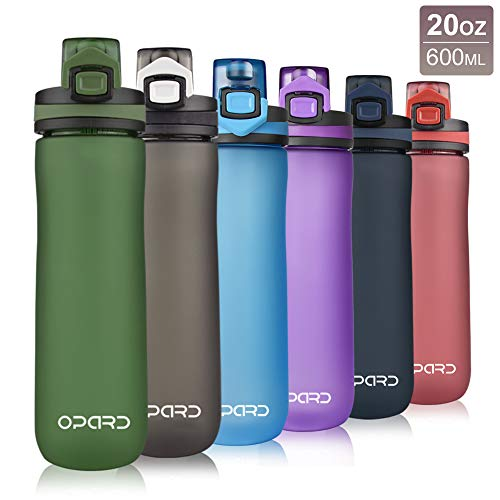 Opard Sports Water Bottle, 600ml BPA Free Non-Toxic Tritan Plastic Drinking Bottle with Leak Proof Flip Top Lid for Gym Yoga Fitness Camping (G-Green)