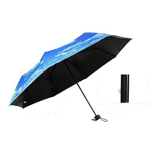 Yi-xir Experiencia Confortable Cielo Azul Plegable Creativo y Nubes Blancas Negro moldeable Tiptop Sun Paraguas Sol Paraguas de Viaje Compacto (Color : 01)