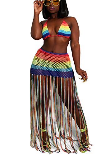 Bluewolfsea Women Sexy Tassels Hollow Out 2 Piece Outfits Rainbow Stripe Bikini Top and Maxi Skirt Set Beach Coverup X-Large Rainbow