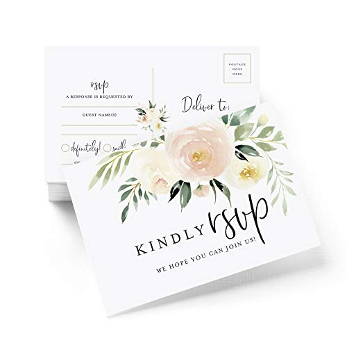 RSVP Postkarten für Hochzeit, Rouge, Antwortkarten, perfekt für Brautparty, Abendessen, Verlobungsfeier, Babyparty oder andere besondere Anlässe, 50 Stück