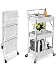 Johgee składany wózek kuchenny z 3 poziomami z metalu, wózek do przechowywania, uniwersalny wózek do serwowania, regał kuchenny z kółkami, do łazienki, kuchni, biura, pokoju dziecięcego, pralni (biały)