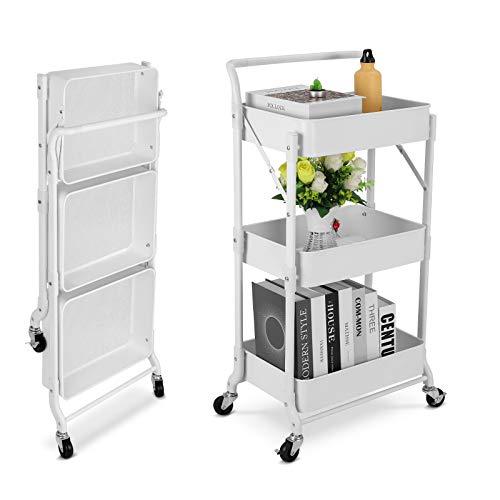 Carro plegable de metal para uso general de 3 niveles, fácil montaje Carro organizador de almacenamiento multifunción móvil plegable para el hogar, la oficina, al aire libre(blanco-1)