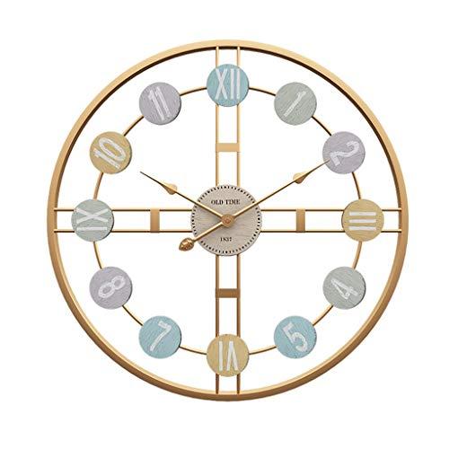 YUN&DSC Reloj de pared creativo de Europa y los Estados Unidos de América, moderno, minimalista, de hierro forjado, reloj decorativo para sala de estar (color: blanco)