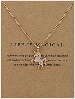 Odessey 14k Gold-Plated Unicorn Necklace for Girls Women Kids Little Girl | Gold Necklace for Women | Unicorn Jewelry Presents Elegant for Any Unicorn Lover