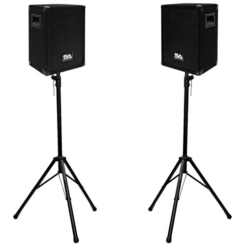 """Seismic Audio - Pair of 8"""" PA DJ SPEAKERS TWO TRIPOD SPEAKER STANDS PRO AUDIO - Band, Bar, Wedding, Church"""
