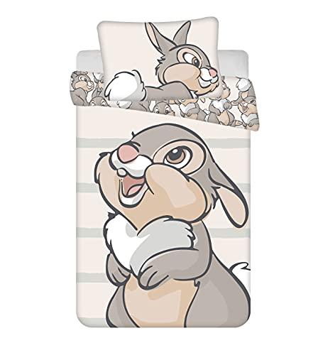 Disney Bambi Klopfer - Juego de cama (2 piezas, 100 x 135 cm, 40 x 60 cm, 100% algodón)