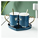Coppia tazze da caffè set tazze in ceramica e cuore amore a forma di piattino piattino coppie regali di San Valentino anniversario regali di fidanzamento da sposa regali per la moglie Girlfriend regal