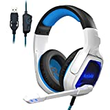 PC USB Gaming Headset with Noise Canceling Mic, 7.1 Surround Sound, Soft Memory Foam, LED Light for PC, Laptop, Mac