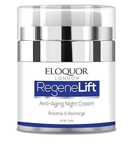 Eloquor RegeneLift crema de noche antiedad | Crema hidratante facial con retinol, ácido hialurónico y vitaminas para arrugas, líneas finas y pieles sensibles | Natural, orgánico y libre de crueldad