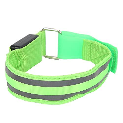 Correas de Cinta reflectora, Luces de Corredor Ligeras fáciles de Usar Brazalete de Correr LED con Tiras Reflectantes Dobles para Caminar de Noche, Andar en Bicicleta y Correr(Green)
