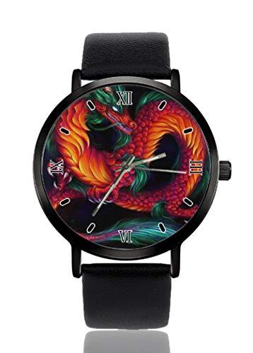 PALFREY - Reloj de pulsera de dragón chino para negocios, casual, deportivo, de cuarzo, para mujeres, hombres, impermeable, unisex