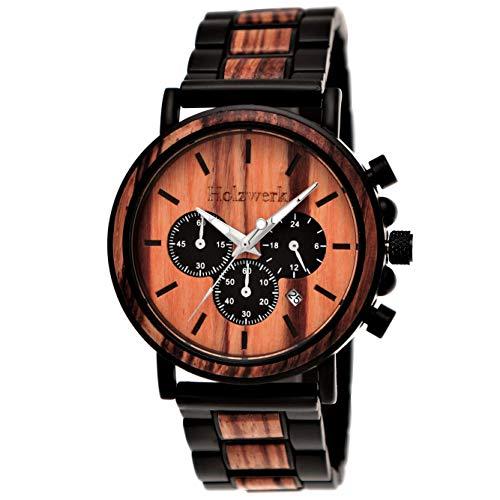 Handgefertigte Holzwerk Germany® Designer Herren-Uhr Öko Natur Holz-Uhr Chronograph Armband-Uhr Analog Quarz-Uhr Braun Schwarz Datum Holz Ziffernblatt (Braun)