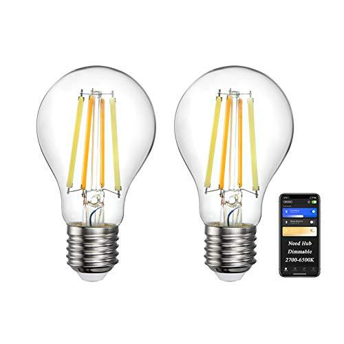 Preisvergleich Produktbild Oeeone 2 Stk E27 Smart Filament LED Lampe ZigBee 7W Ersetzt Edison Screw Glühbirnen,  Kompatibel mit Philips Hue*, Alexa, Google Assistant(Hub Erforderlich,  Kein WiFi),  2700k-6500K Dimmbar Leuchtmittel