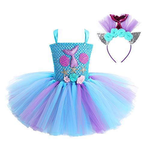 dPois Disfraz Sirena Niña Vestido de Sirenita Princesa con Cola Concha Estrella Tutú Vestido de Fiesta Cumpleaños Diadema Flores Disfraces Halloween Carnaval Azul 6-7 Años