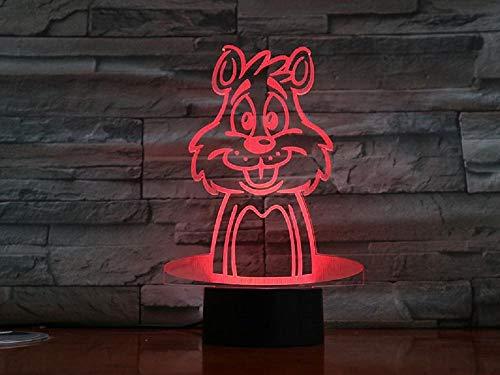 Ilusión 3D Led Luz De La Noche Tigre De Dibujos Animados Escritorio D