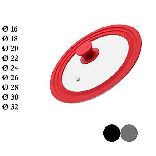 M.S.N Tapas de cristal universales de 20/22/24 cm, con válvula de salida y borde de silicona, color rojo