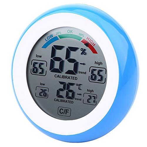 Higrómetro Digital de Interior Multifuncional Respetuoso con el Medio Ambiente de 1 Pieza para visualización de Temperatura y Humedad(Azul)