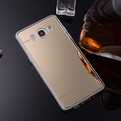 Nadoli Galaxy J5 2016 Spiegel Hülle,Glänzend Shiny Mirror Effect Soft TPU Case Spiegel Flexibel Gel Schutzhülle für Samsung Galaxy J5 2016,Gold