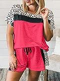MYJ Pantalones Cortos de Manga Corta con Estampado de Leopardo para Mujer Pantalones Cortos Pajamas 2 Piezas,Rojo,M