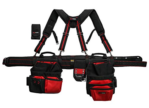 MELOTOUGH Pro Framer Combo System-Magnetic Tool Pouch Build Heavy Duty Carpenter Tool Belt and Multi Function Tool Belt Suspenders (Red)…