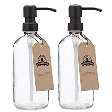 Jarmazing Products Clear Glass Pint Jar Soap and Lotion Dispenser with Metal Pump (Black/Dark Bronze) - Two Pack