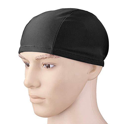 Gorro de natación elástico de nailon, color sólido, unisex, para deportes acuáticos, negro, práctico y cómodo