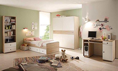 lifestyle4living Jugendzimmer in Eiche Sonoma NB und Abs. in weiß, Kojenbett (ca. 90x200cm), Schreibtisch mit Tastaturauszug, Schwebetürenschrank...
