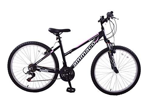 Ammaco. Snowdon 26' Wheel Womens Mountain Bike Alloy 18' Frame Front Suspension 21 Speed Black/Pink
