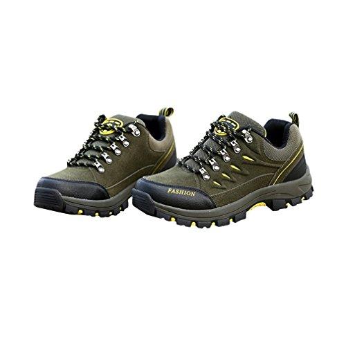 Outdoor Leder Peeling wasserdichte Bergsteigerschuhe Schnür Wanderschuhe Damen Sportschuhe zum Klettern Berg Armee grün, 39 Uniquelove