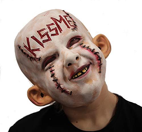 Stylex Party Ltd kus me latex masker griezelige pop duivel demon halloween fancy jurk kostuum