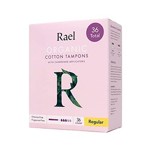 Rael Organic Cardboard Applicator Tampons - Regular Absorbency with New Easy Grip Applicator, Unscented, Biodegradable, Chlorine Free, for Sensitive Skin (36 Count, Regular)