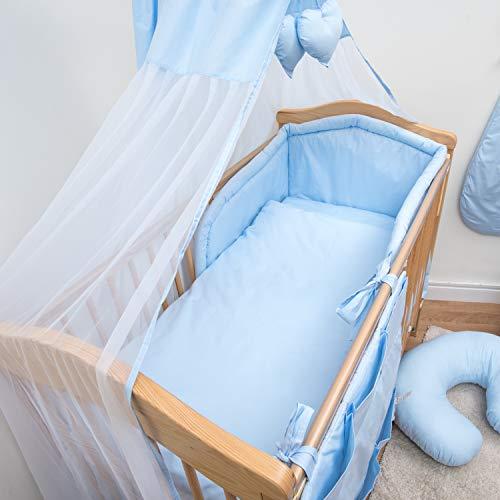 12 PC Parure de lit bébé avec bumper rembourré (pour lit de 140 x 70 cm) – Bleu uni
