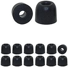 Earphones Plus C-6MF-BKM Memory Foam Earbuds, Replacement Ear Buds for in Ear Earphones, Black - Medium