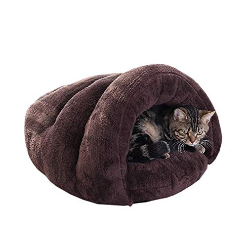Leuk warm Pet kattenbakvulling slaapzak herfst en winter warm en comfortabel kennel kat huiskat bed hjm chongwuyongping (Color : Brown, Size : Small)