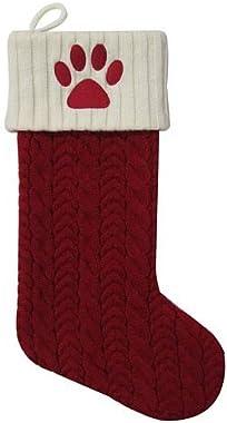 "St Nicholas Square 21"" Monogram Paw Print"" Pet Knit Christmas Stocking"