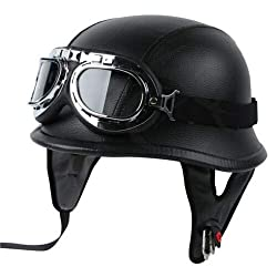 TCMT Dot Adult German Style Half Helmet Motorcycle Chopper Cruiser Biker Helmet+Goggles (Medium, Style D)