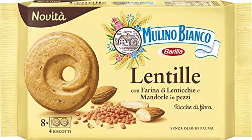 Mulino Bianco Biscotti Frollini Lentille, con Farina di Lenticchie e Mandorle in pezzi, Ricche di Fibre, Senza Olio di Palma, Ottimi a Colazione, 220 gr