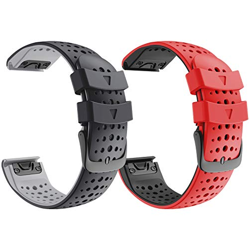ANCOOL Compatible with Fenix 5 Watch Band 22mm Easy-fit Silicone Soft Sport Band Replacment for Fenix 5 Plus/Fenix 6/Forerunner 935 Smartwatches (Black, Red)