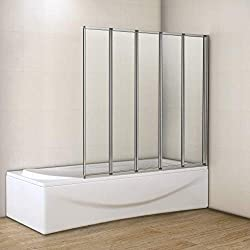 High quality tempered glass ensures longevity and safeness Five fold panel with chrome frame 1400mm high screen Mounting: bathtub (on wall) Reversible for both left and right hand fitting