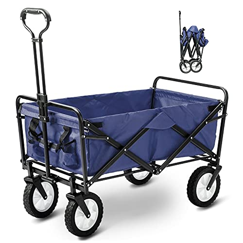 Garden Trolley with Wheels Heavy Duty Foldable Pull Wagon Hand Cart Collapsible Garden Cart Folding Camping Cart Festival Trolley for Beach, Camping, Weeding and Outdoor, 90 X 50 X 100cm, 150Kg Max