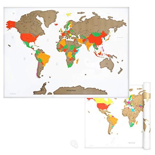 Navaris Mappa Mondo da Grattare - Carta Planisfero Grande da Parete 82x59cm Mappamondo Scratch Off Carta geografica World Map - bianco