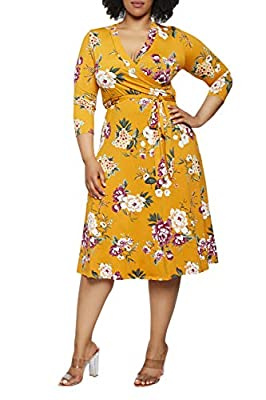 Pink Queen Women's Plus Size 3/4 Sleeve Faux Wrap Floral Dress with Belt