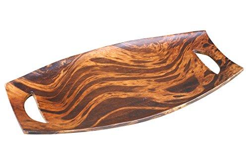 thai4living Deko Holzschale Obstschale Dekoschale Tablett Oval Mangoholz Handarbeit Unikat, Dunkel Braun, 3,5x24,5x46cm