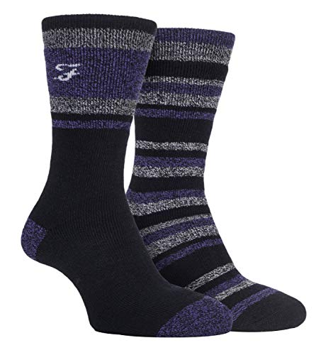 FARAH® - 2er Pack Herren Streifen Muster Winter Thermosocken mit Fleece für Stiefel (Schwarz/Violett, 39-45)
