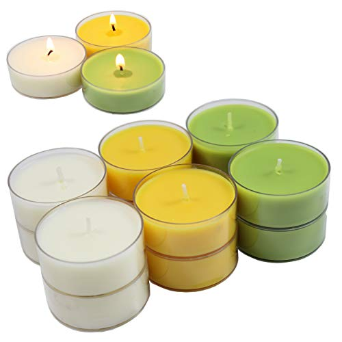 Smart-Planet® Kaarsen Ambiente - 12 stuks Jumbo geurtheelichtjes theelichtjes set citronella citroen geur - transparante hoes - 8 uur lange brandduur